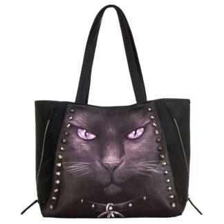 black cat stor lærveske med pyntenagler D008A306