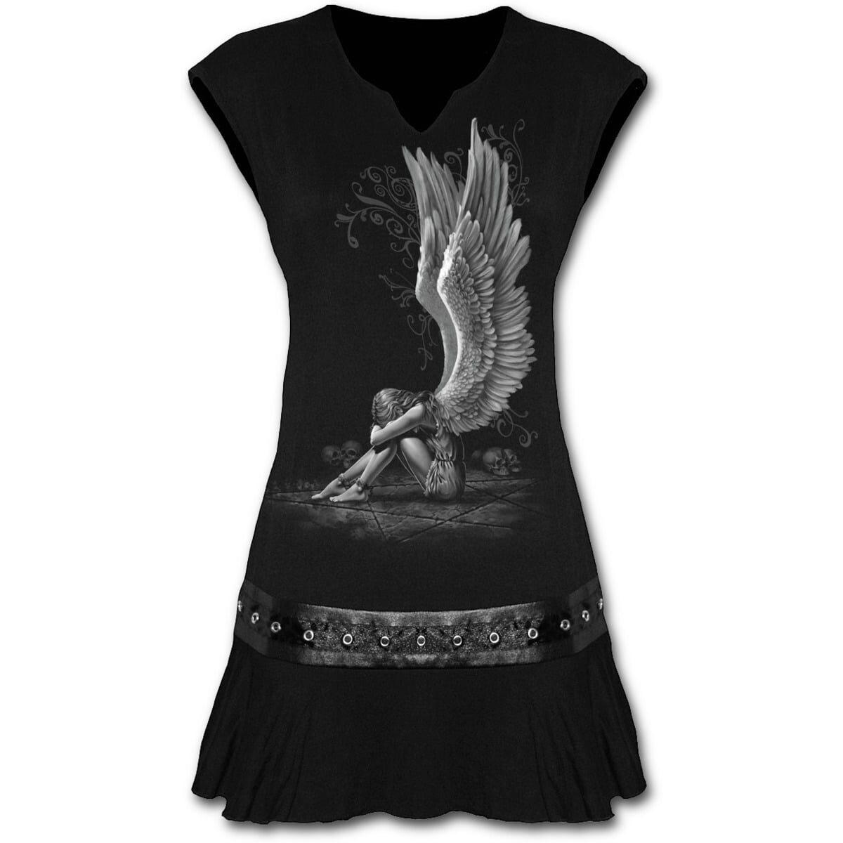 enslaved angel svart minikjole med studs rundt midjen D024F108