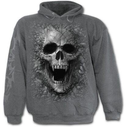 skulls cove gra hettegenser til herre E009M463