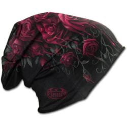 blood rose svart tynn lue i bomull K018A801