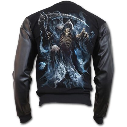 ghost reaper bomber jakke med imitert lær ermer K039M655