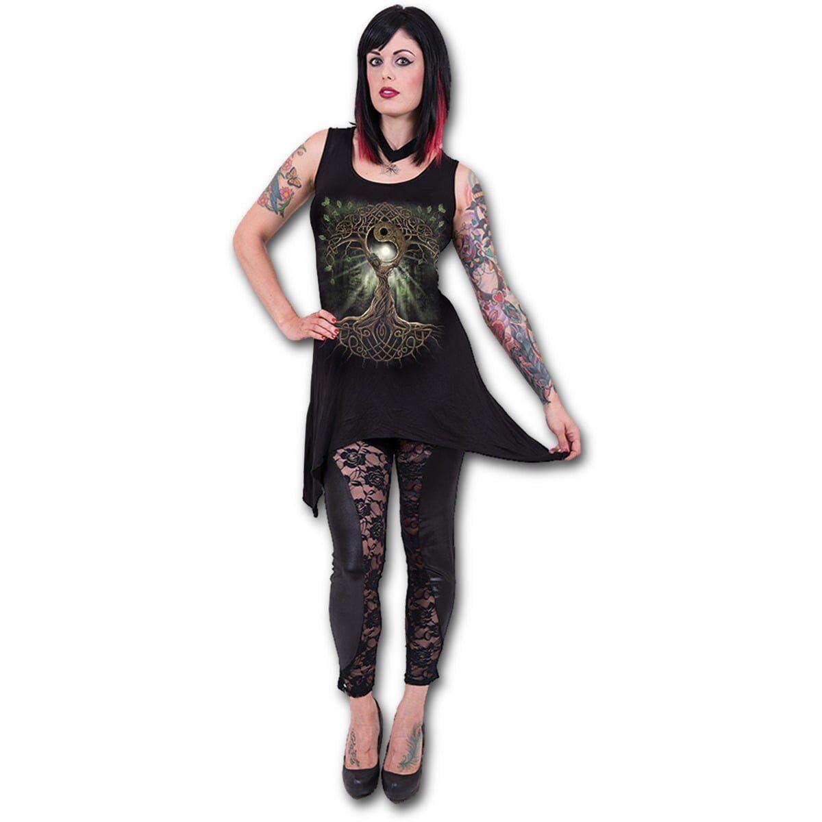 oak queen svart tunika kjole med gotisk hem L022F105