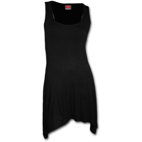 gothic elegance svart tunika kjole med gotisk hem P001F105