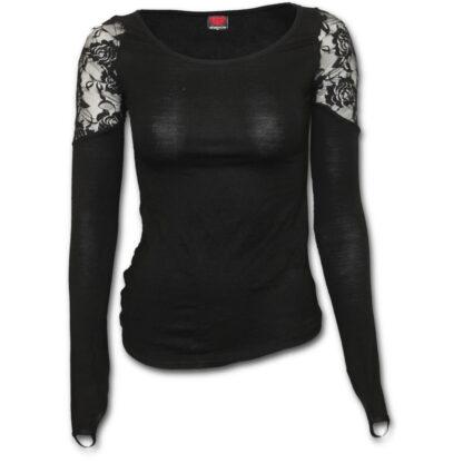 gothic elegancesvart langermet topp med blonde skuldre P001F443
