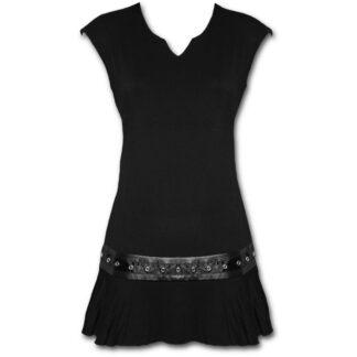 gothic rock svart minikjole med midje studs P002F108