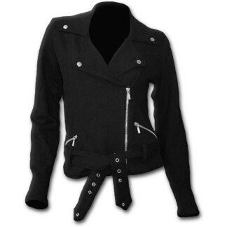 metal streetwear fleecejakke i bikerstil P003G402