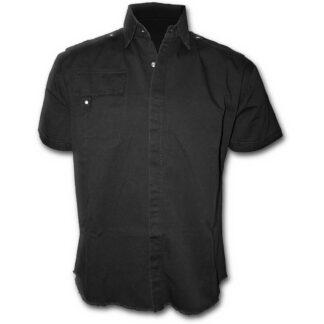 metal streetwear svart kortermet steinvasket skjorte P003M603