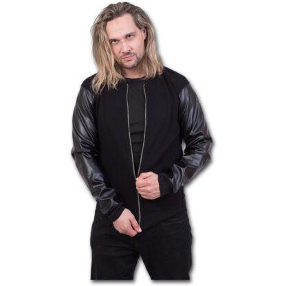 urban fashion bomber jakke med imitert lær ermer P004M655