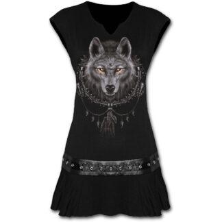 wolf dreams svart minikjole med midje studs T035F108