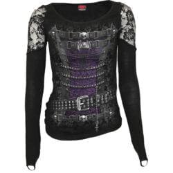 waisted corset svart langermet topp med blonde skuldre T085F443
