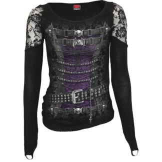 waisted corset svart langermet topp med blonde skuldre T085F443