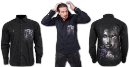 wolf soul svart langermert skjorte T133M606