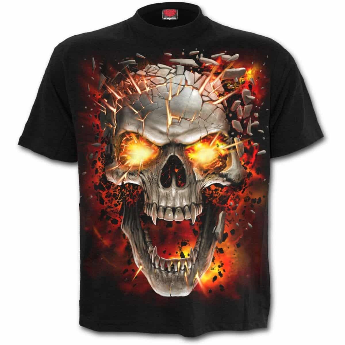 54e1ce95 Skull Blast - svart t-skjorte til barn | RiffRaff.no