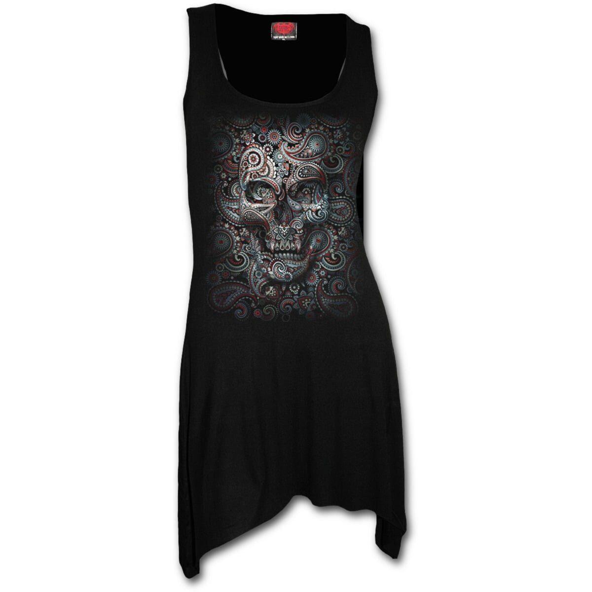 skull illution svart tunika kjole med gotisk hem T159F105