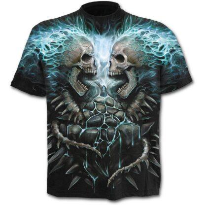 flaming spine svart t-skjorte med heltrykk W016M105