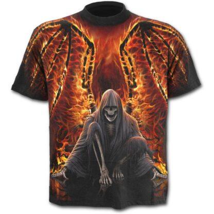 flaming death svart t-skjorte med heltrykk W021M105