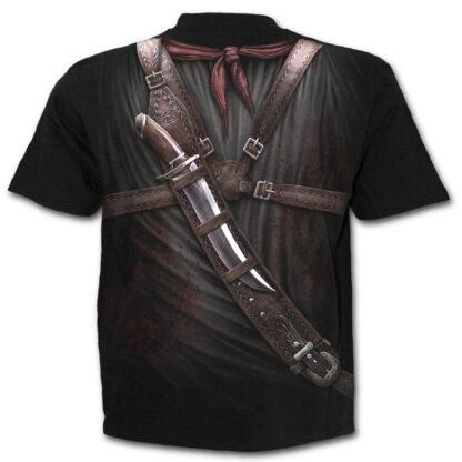 holster wrap svart t-skjorte med heltrykk W022M105