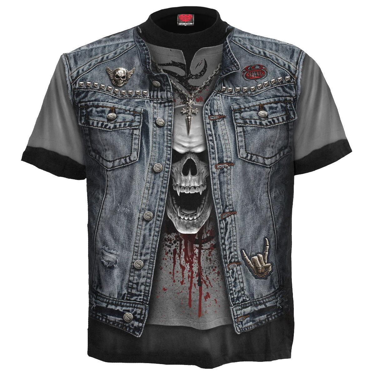 trash metal svart t-skjorte med heltrykk W024M105