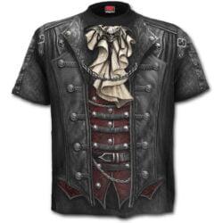 goth wrap svart-t skjorte med heltrykk W025M105