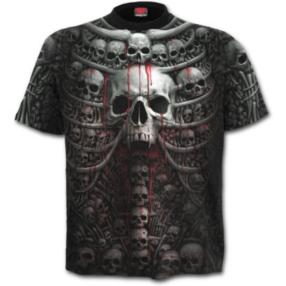 death ribs svart t-skjorte med heltrykk W027M105