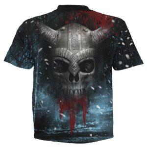 viking wrap svart t-skjorte med heltrykk W029M105