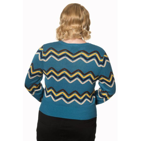 plus size good vibes langermet cardigan med sikksakk mønster CA3113