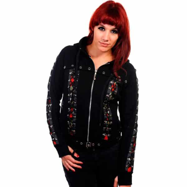 skull rose corset hettejakke med snøringer og lang hette HBN011BLK