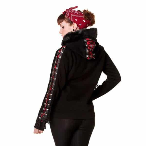 red tartan corset hettejakke med snøring HBN050