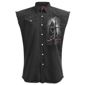 soul searcher svart ermeløs steinvasket skjorte D050M602