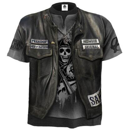 jax wrap svart t-skjorte med heltrykk G101M105