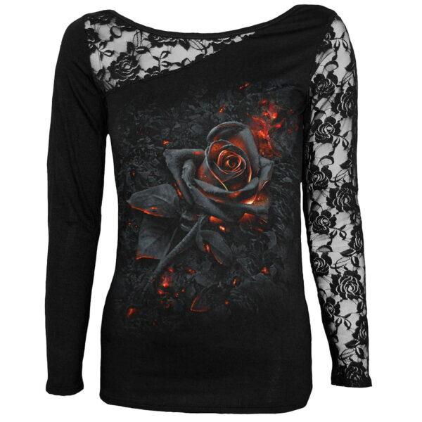 burnt rose dametopp med blonde erm K048F439