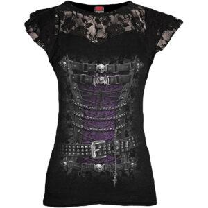 waisted corset kortermet svart blondetopp T085F721
