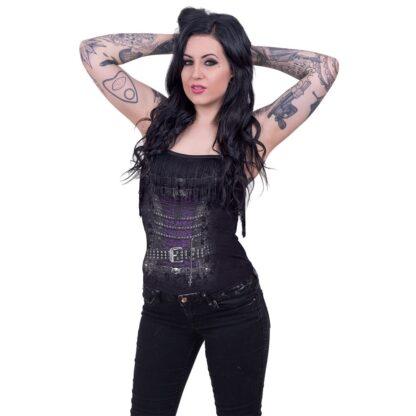 waisted corset singlet med frynser T085G065