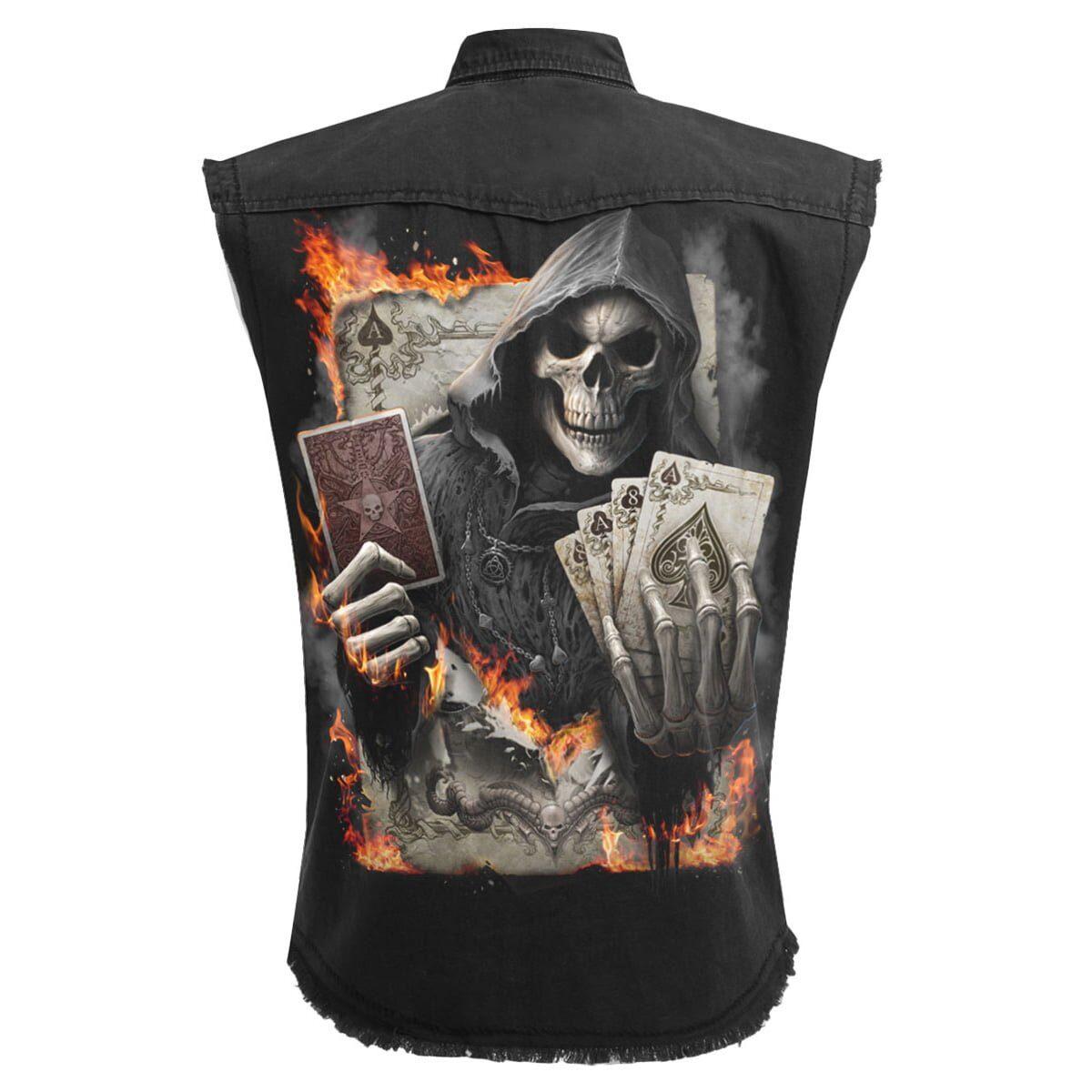 ace reaper svart ermeløs steinvasket skjorte T155M602