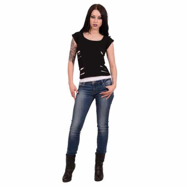 urban fashion svart og hvit 2 i 1 topp med rifter P004F710