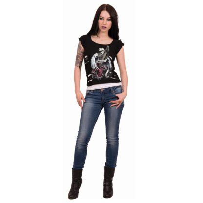 rock angel svart og hvit 2 i 1 topp med rifter T091F710 A Riff Raff Store