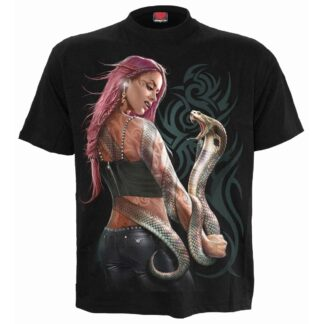 serpent tattoo svart t-skjorte til herre T149M101
