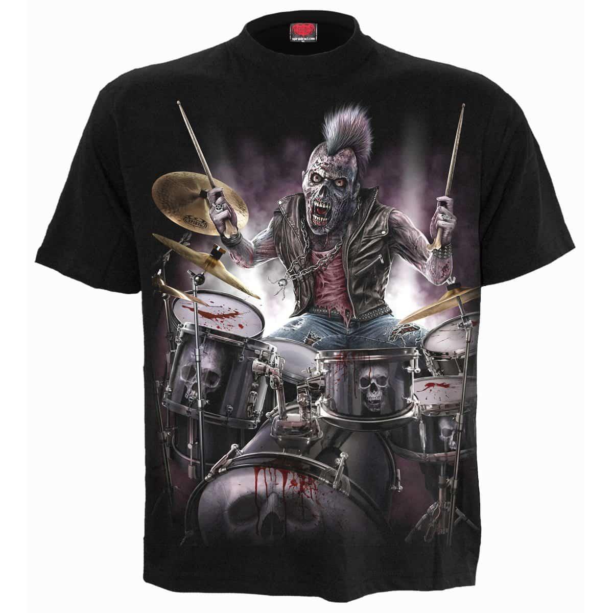 Stilig herre t skjorte | Svart t skjorte med zombie motiv
