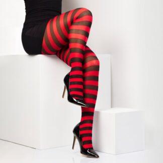 twickers rød og svart stripete strømpebukser TS6505