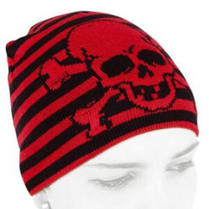 rød og svart stripete lue med hodeskalle ACP-006/07