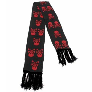 svart skjerf med røde skaller ASC-006/07