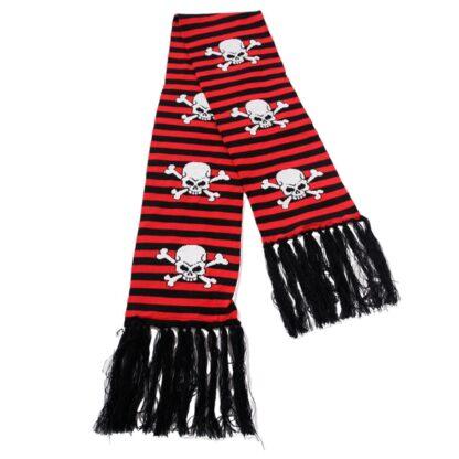 svart og rød stripete skjerf med hvite skaller ASC-012/07