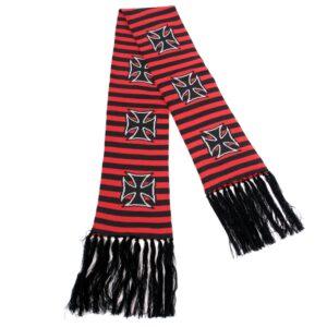 svart og rød stripete skjerf med jernkors ASC-014/07