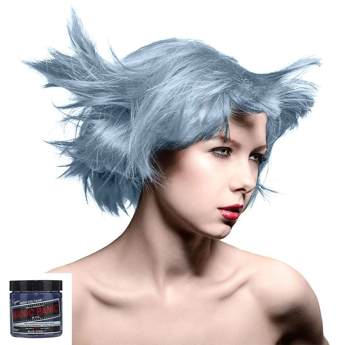 manic panic high voltage sølvblå hårfarge 118 ml blue steel model 7041
