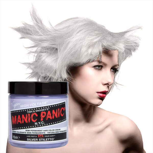 manic panic classic high voltage sølv hårfarge 118ml silver stiletto model pot 70603
