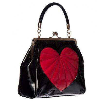 heartbreaker svart håndveske med hjerte pynt BG34001