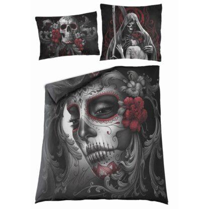 skull roses dobbelt sengesett med ekstra putevar D058A510