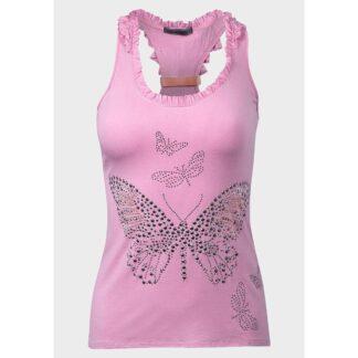 butterfly rosa singlet med studs og sløyfe 562590