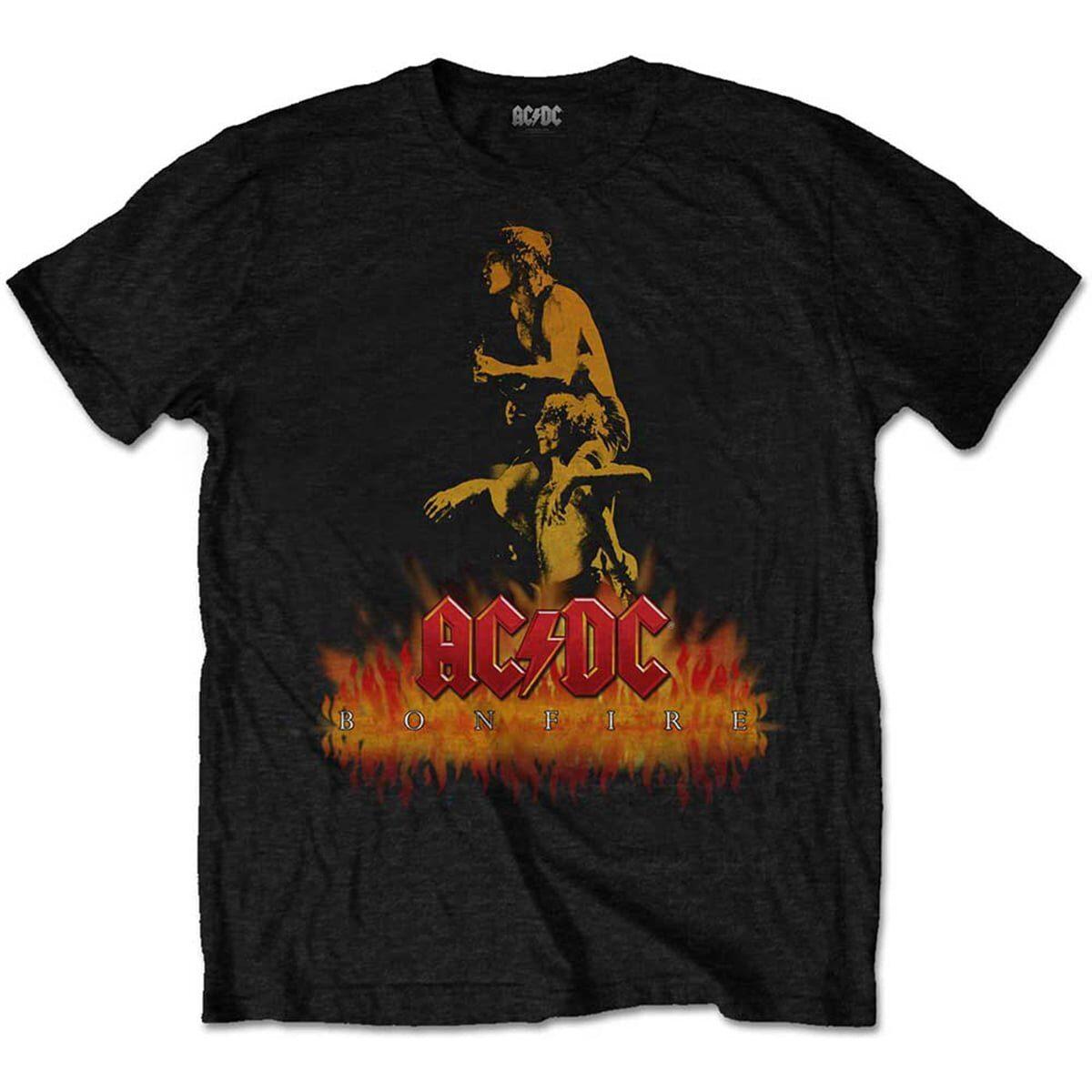 ac/dc bonfire bon ronald belford scott og angus young svart unisex t-skjorte ACDCTS57MB