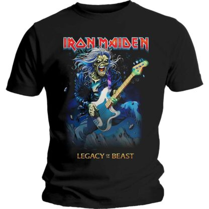 Iron Maiden Eddie on bass svart t-skjorte til herre IMTEE73MB